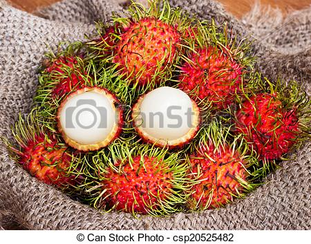 Pictures of asian fruit peeled rambutan and rambutan on sack from.