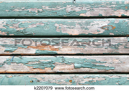 Stock Photograph of Old wooden texture with peeling paint k2207079.