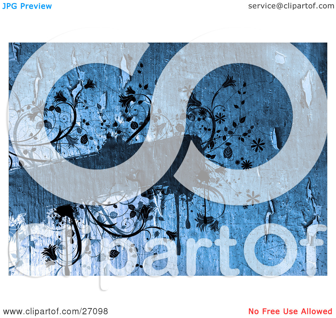 Clipart Illustration of a Blank Blue Text Box With Vines, Flowers.