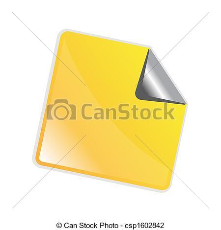 Clip Art of Yellow peeling sticker.