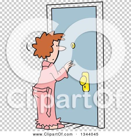 Clipart of a Cartoon Caucasian Woman in a Robe, Looking Through a.