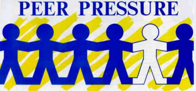peer presure Peer pressure is the way that people of the same social group -- peers -- can influence one another, often in negative ways, such as encourage drug or alcohol use.