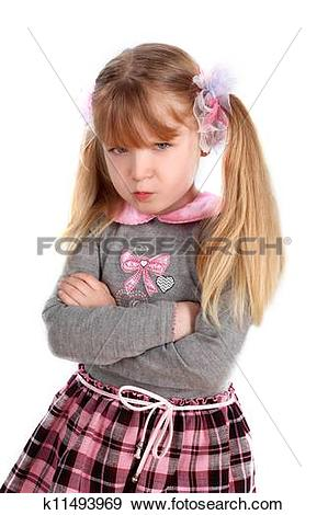 Stock Photograph of little girl taking great offense k11493969.