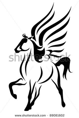 Pegasus Clipart Black And White.