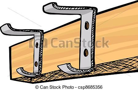 Coat pegs clipart.