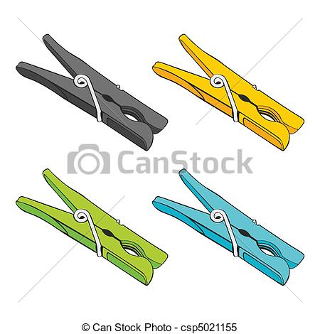 Clipart Vector of isolated colored pegs.