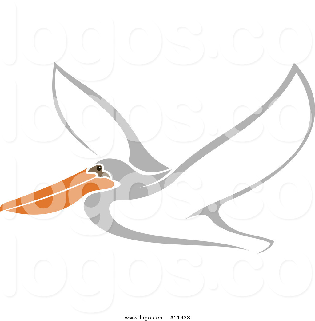 Royalty Free Clip Art Vector Logo of a Flying White Pelican.