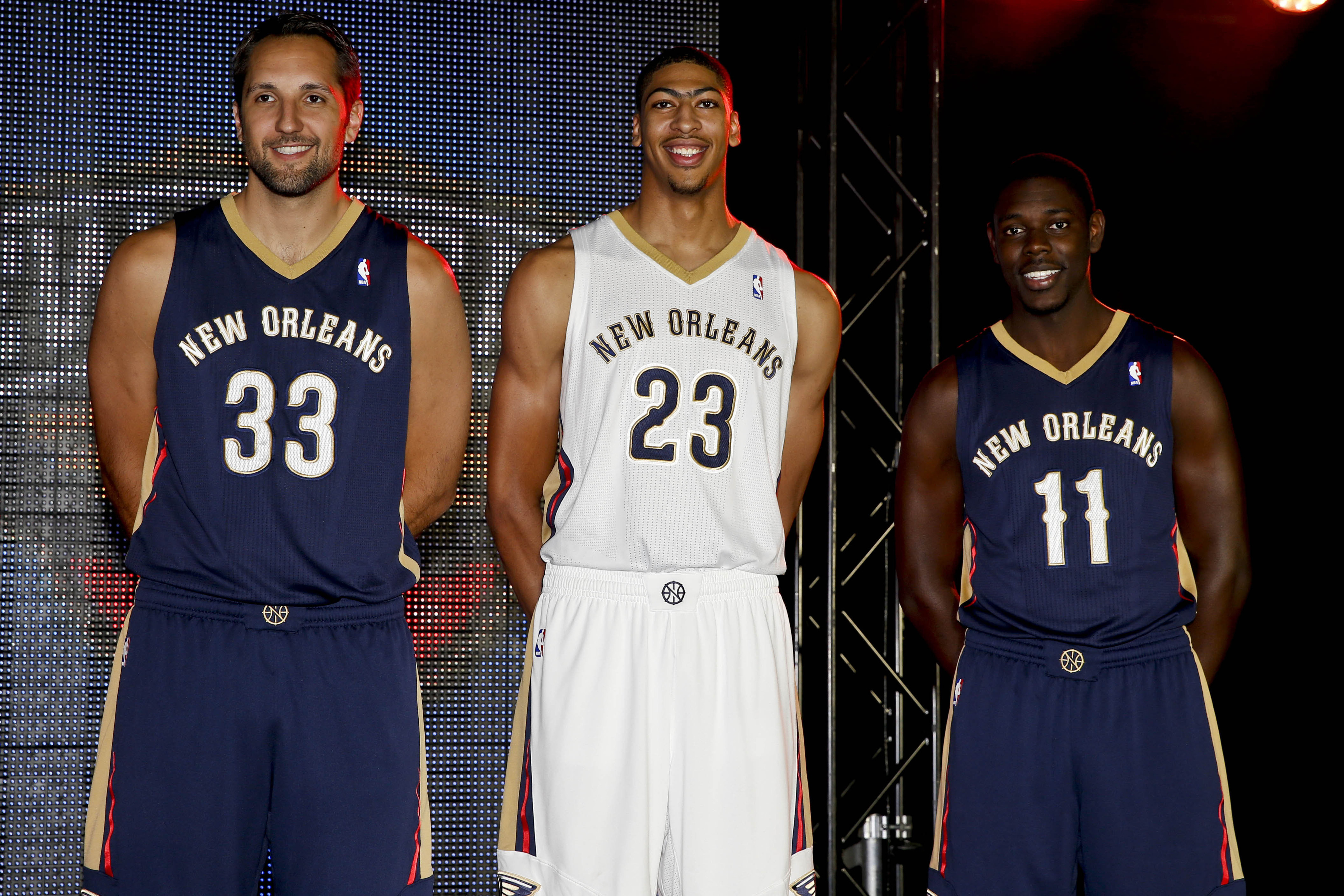 2013 New Orleans Pelicans roster: Tyreke Evans and Jrue Holiday.