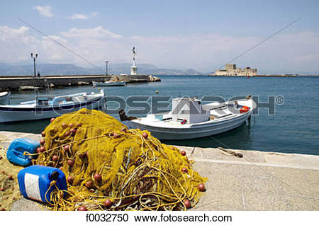 Stock Photography of Greece, Peloponnese, Nafplion, the port and.