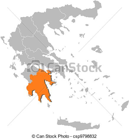 Vector Illustration of Map of Greece, Peloponnese highlighted.