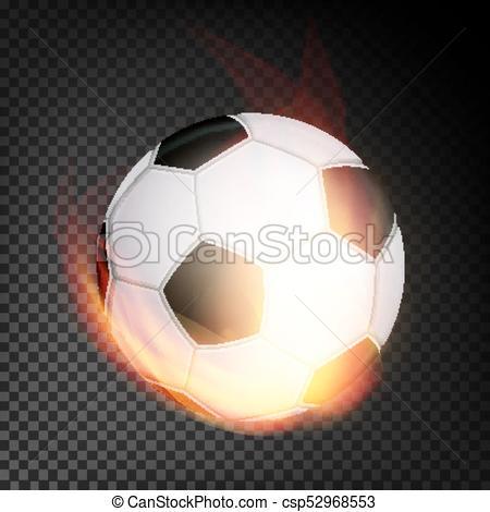 Bola de fútbol en vector de fuego realista. quemando pelota.