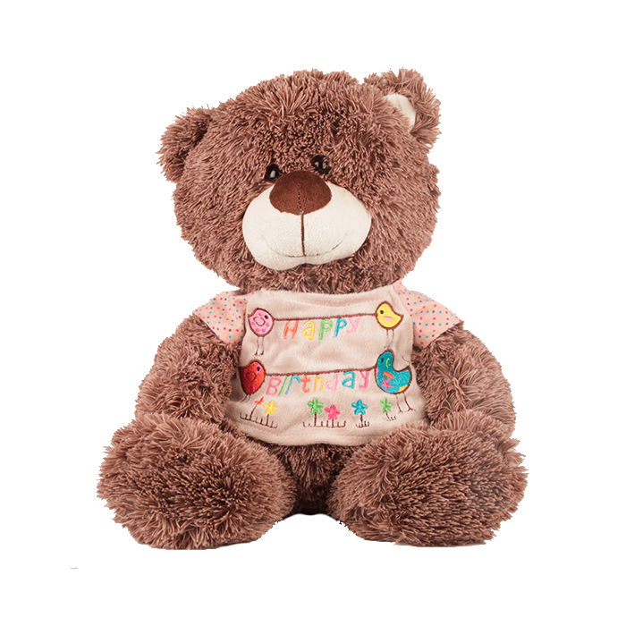 Peluche Oso Con Camiseta Happy Birthday 30 cm.