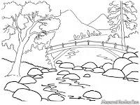 Gambar Mewarnai Pemandangan Alam Sungai Yang Jernih Dipegunungan.