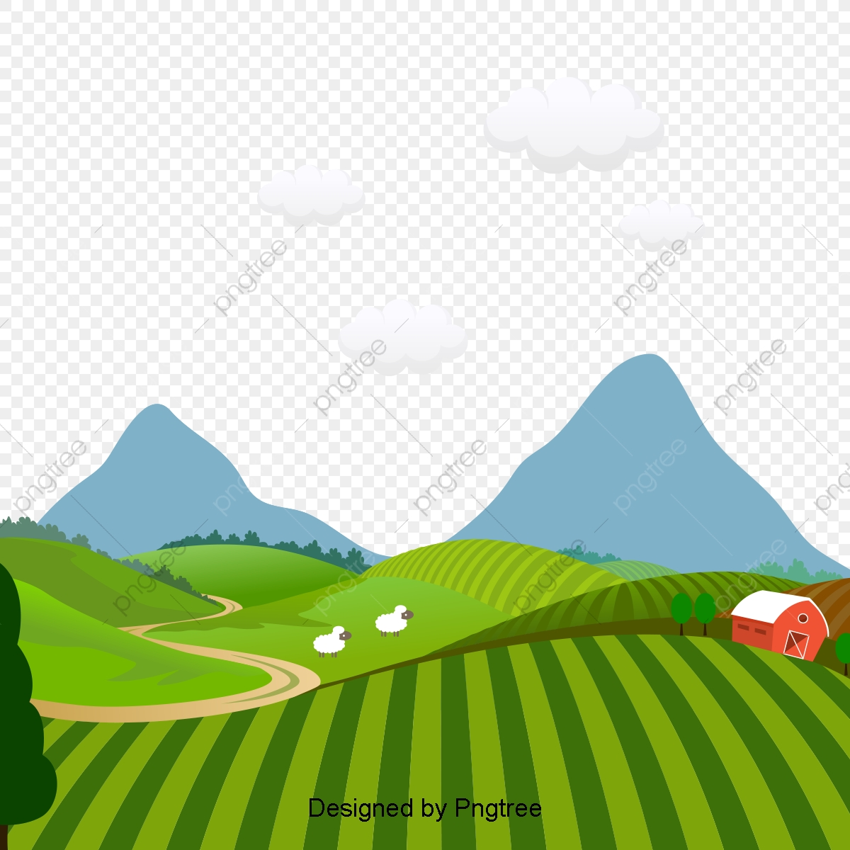 Kartun Indah Tangan Dicat Desa Pemandangan, Estetika, Kartun.