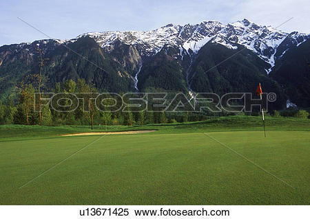 Stock Image of Big Sky Golf Course, with Mount Currie at Pemberton.