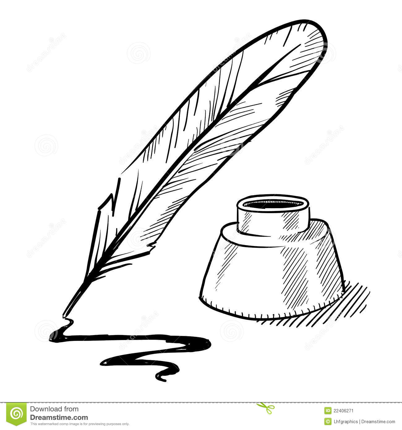 Quill And Inkwell Drawing Pen and ink drawing cl...