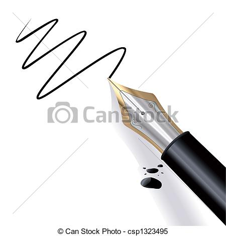 Clipart Vector of Writing Fountain pen.