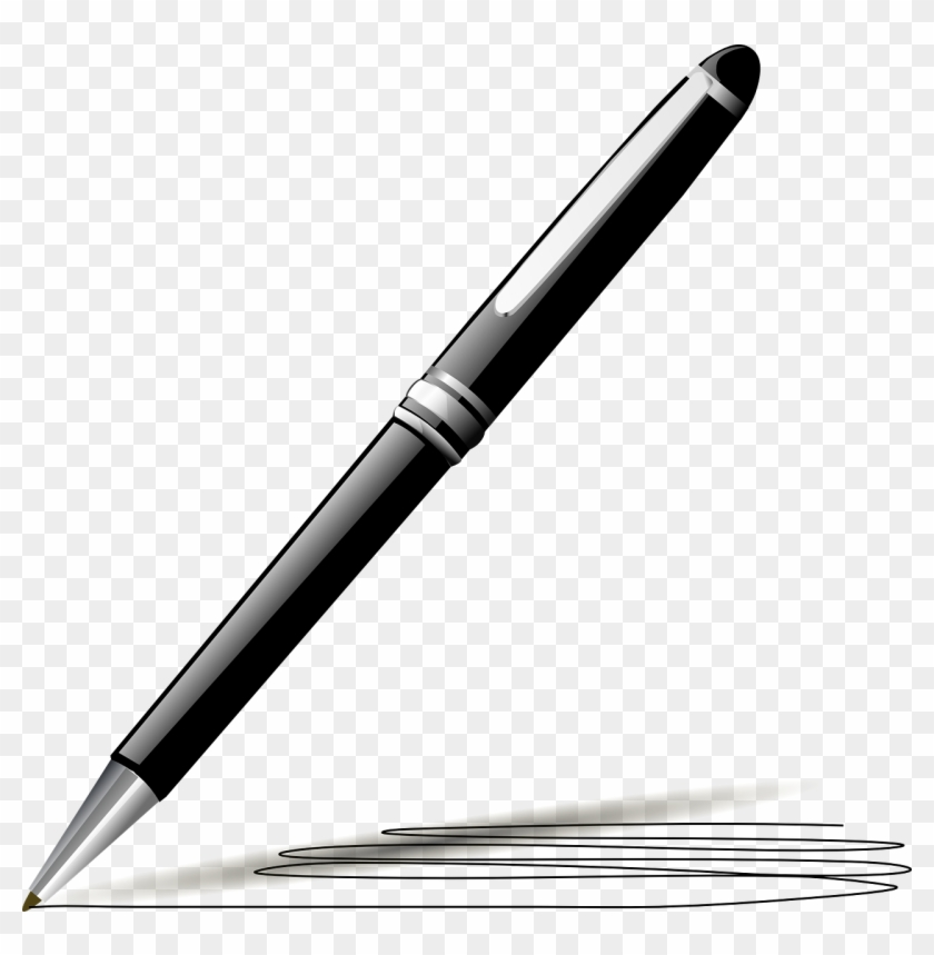 Pen Black Ink Ballpoint Feather Png Image.