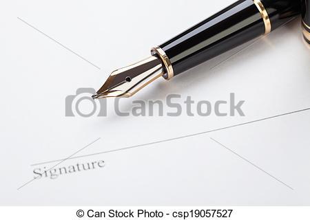 Stock Photo of macro closeup sign document contract pen filler.