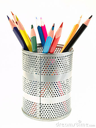 Pens In The Pen Holder Royalty Free Stock Photos.