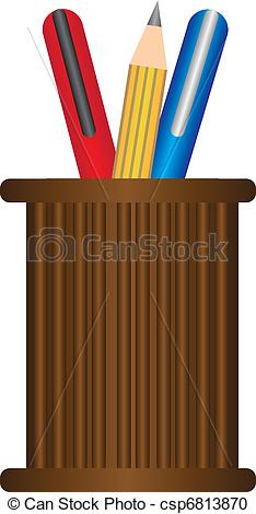 Vector Clipart of pen holder.
