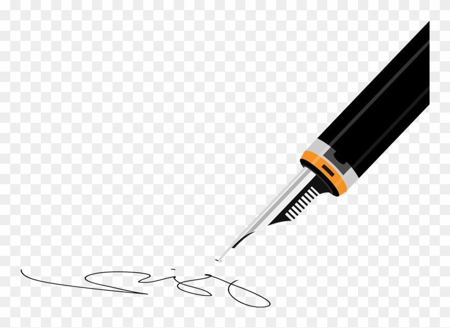 Contract Clipart Pen Signing.