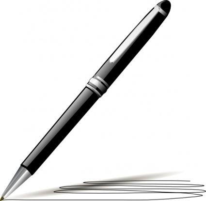 Pen and paper pen writing on paper clipart.