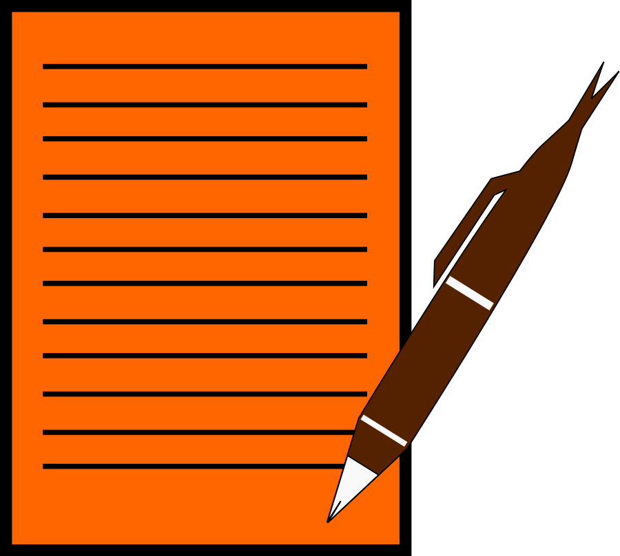Pen writing on paper cartoon clipart image #6473.