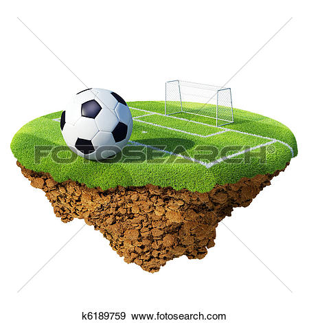 Stock Illustration of Soccer ball on field, penalty area and goal.