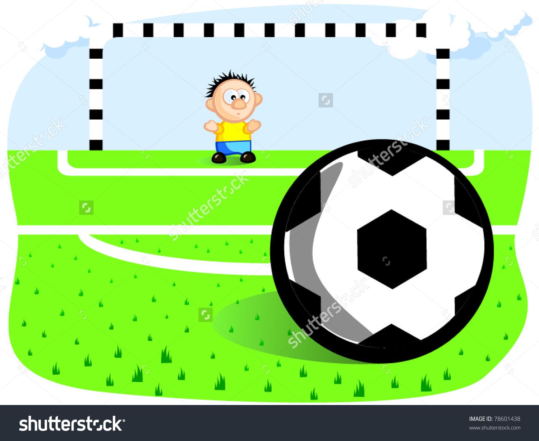 Goalkeeper Defends Goal Penalty Ball Gates Stock Vector 78601438.