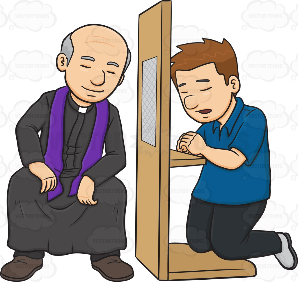 A Man Confessing To A Priest And Asking Penance Cartoon Clipart.