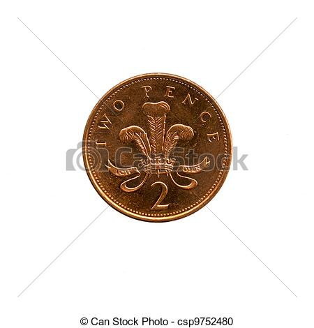 Stock Photography of 2 Pence Sterling (2p).