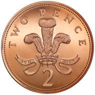 Two Pence Coin Clip Art, Vector Two Pence Coin.