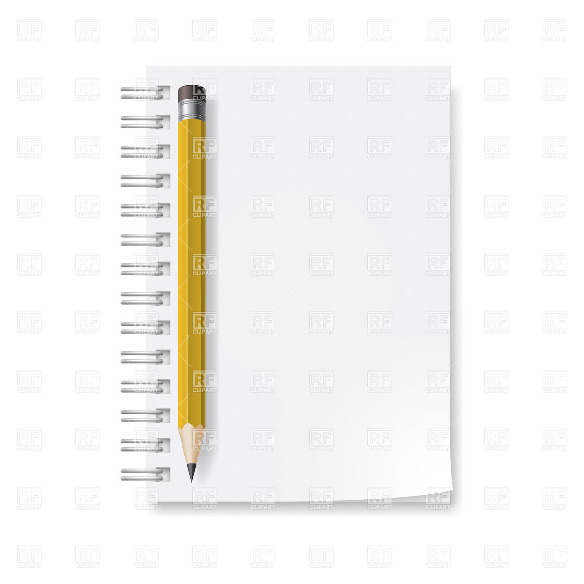 Notebook and yellow pencil with eraser Vector Image #20573.