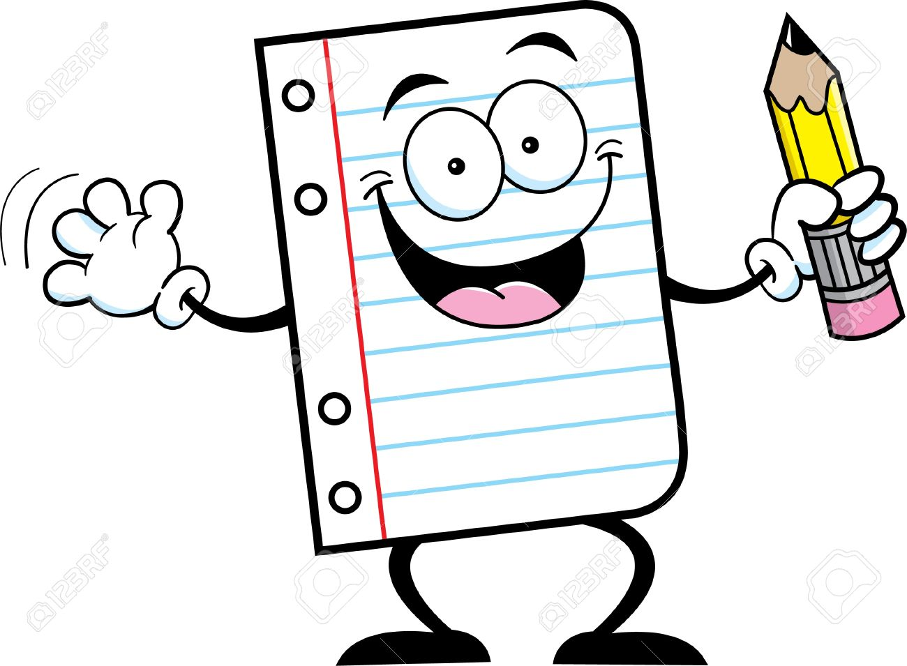 Black And White Illustration Of A Notebook Paper Holding A Pencil.