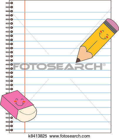 Clipart of Notebook Pencil Eraser k8413825.