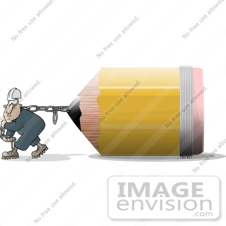 Man Pulling a Chain Attached to a Giant School Pencil Clipart.