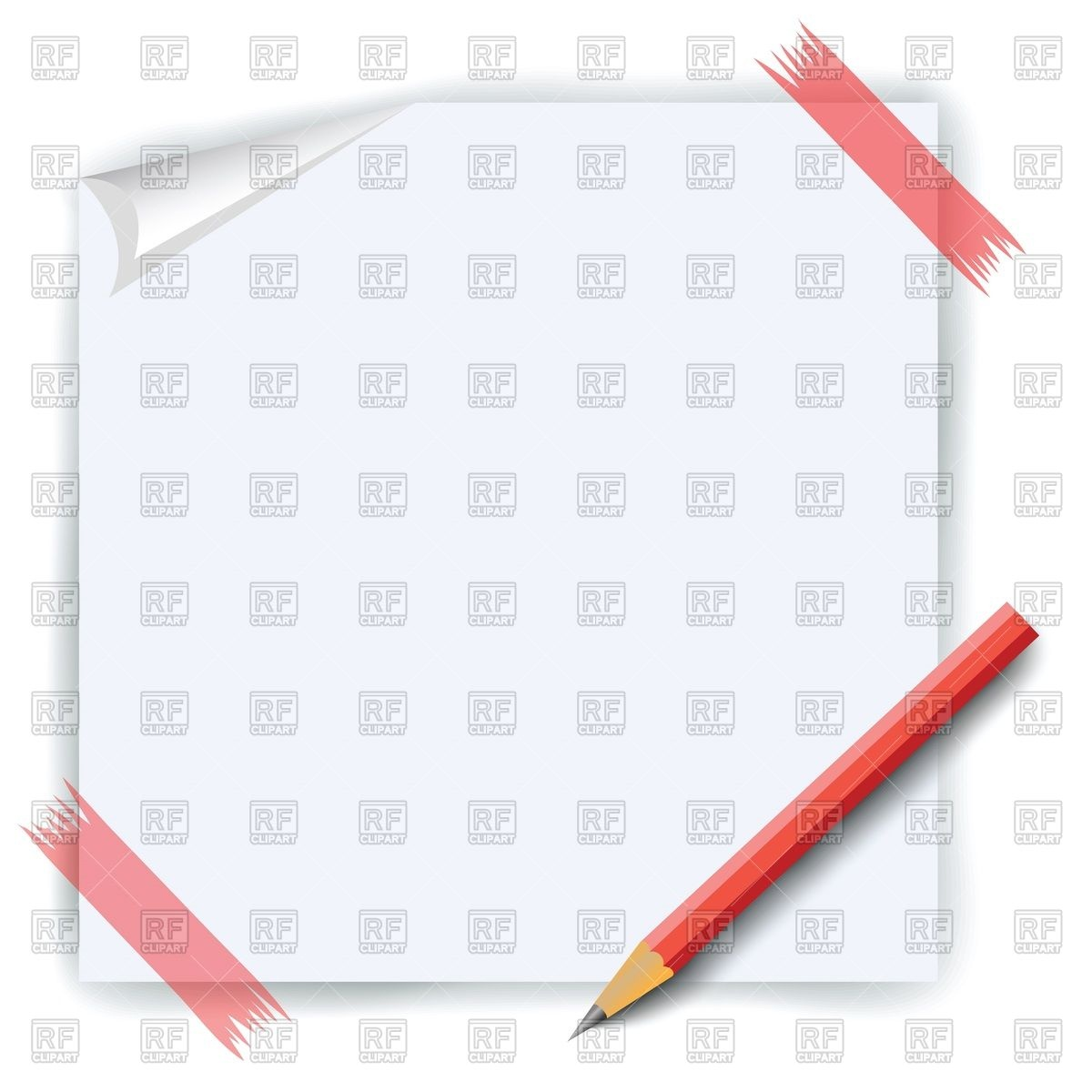 Paper sheet attached with red sticky tape and pencil Vector Image.