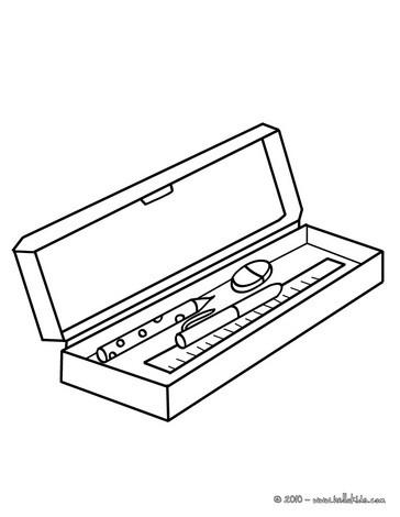 Clipart pencil case black and white.