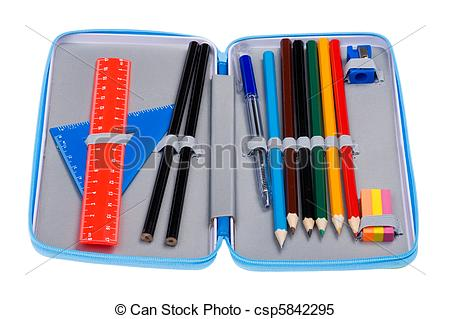 Stock Images of pencil case macro.