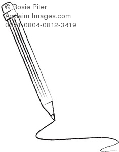 Clipart Picture of a Pencil Drawing a Line.