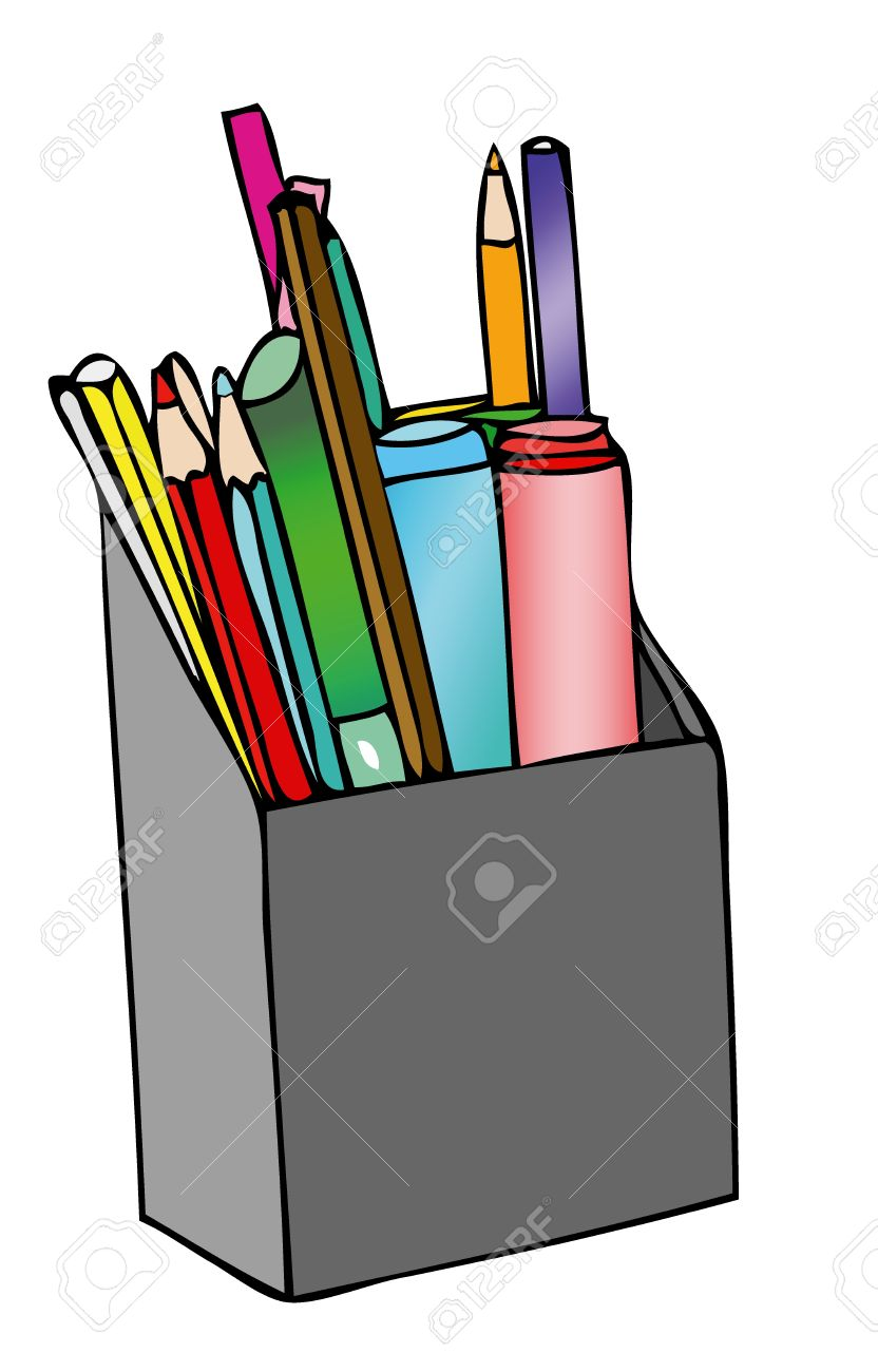 Pencil Holder On The Desk Stock Photo, Picture And Royalty Free.
