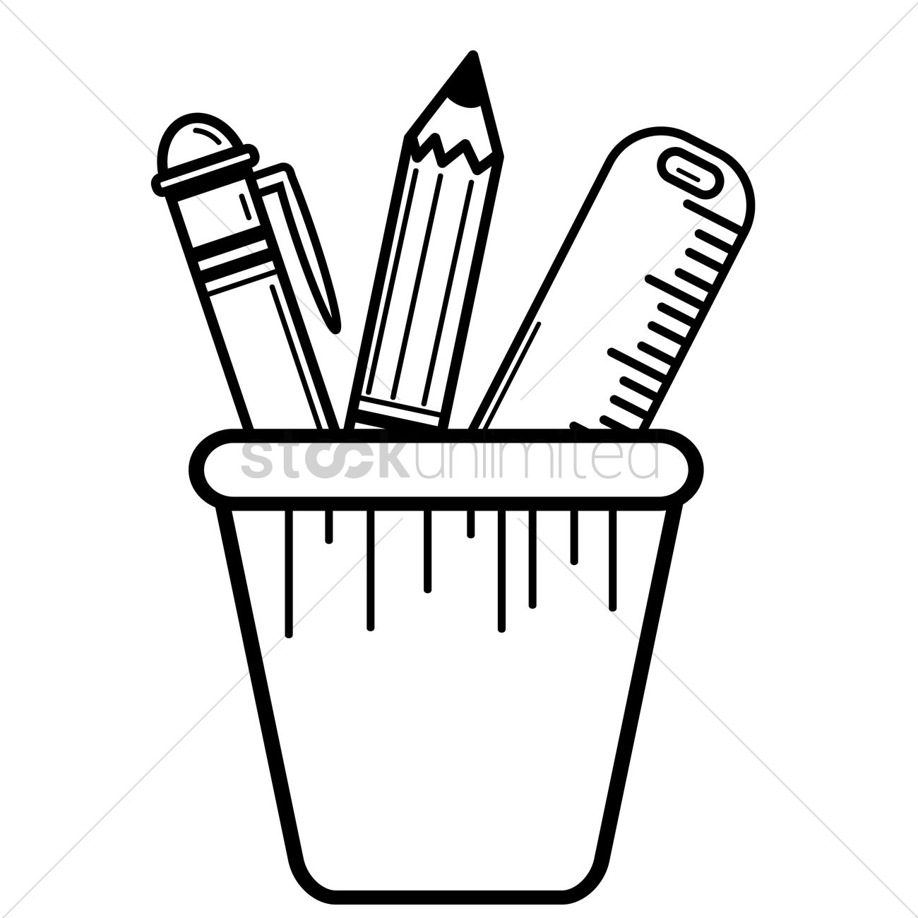 Free Pen pencil and ruler in pen holder Vector Image.