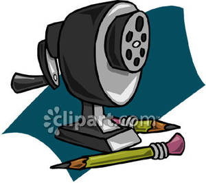 Manual Pencil Sharpener and Pencils Royalty Free Clipart Picture.