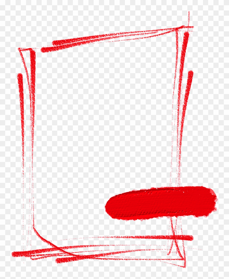 Frame Red Pencil Stroke Texture Realistic Simple Handpa.
