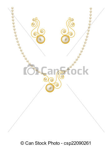 Clip Art Vector of Pearl Gold Jewellery Necklace, Earrings.