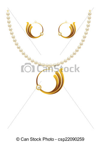 Clipart Vector of Pearl Gold Jewellery Necklace, Earrings, Pendent.