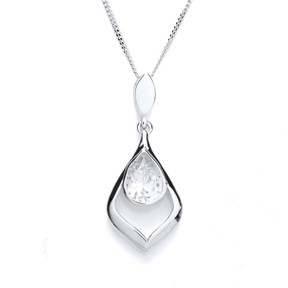 Purity 925 Ladies sterling silver pointed teardrop pendant pear.
