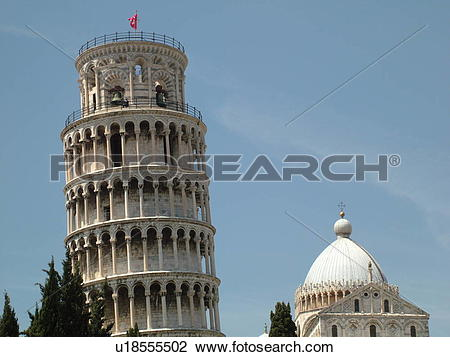 Stock Photo of Pisa, Tuscany, Italy, Toscana, Europe, Leaning.