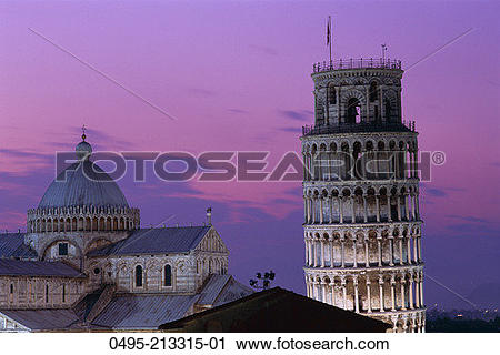 Stock Photography of Italy, Leaning Tower (Torre Pendente) & Duomo.